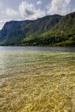 Άποψη της λίμνης Bohinj στο εθνικό πάρκο Σλοβενία Triglav Στοκ Φωτογραφίες