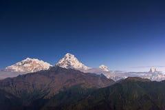 Άποψη της αιχμής Annapurna και Machapuchare πριν από την ανατολή από Poonhill, Νεπάλ Στοκ φωτογραφίες με δικαίωμα ελεύθερης χρήσης