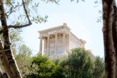 Άποψη της ακρόπολη μέσω της ελιάς στην Αθήνα, Ελλάδα στοκ φωτογραφία με δικαίωμα ελεύθερης χρήσης