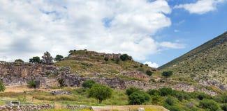 Άποψη της ακρόπολης Mycenae, Πελοπόννησος, Ελλάδα Στοκ Εικόνα