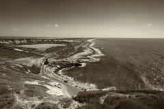 Άποψη της ακτής από Rosh Hanikra Τελευταίο σημείο των συνόρων θάλασσας του Ισραήλ Στοκ εικόνες με δικαίωμα ελεύθερης χρήσης