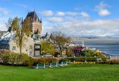 Άποψη της ανώτερης κωμόπολης της παλαιάς πόλης του Κεμπέκ στο Κεμπέκ, Καναδάς στοκ εικόνες