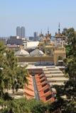 Άποψη της Βαρκελώνης από το Poble Espanyol ή του ισπανικού χωριού ` ` Στοκ Εικόνες