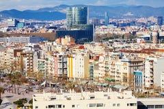 Άποψη της Βαρκελώνης από την πλευρά λιμένων στοκ φωτογραφίες