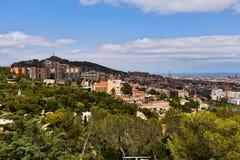 Άποψη της Βαρκελώνης από το πάρκο Guell Στοκ Εικόνα