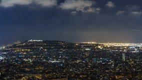 Άποψη της Βαρκελώνης timelapse, η Μεσόγειος, montjuic βουνό από τις αποθήκες Carmel Καταλωνία, Ισπανία απόθεμα βίντεο