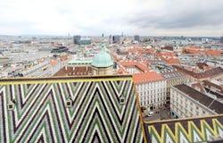 Άποψη της Βιέννης από τη στέγη καθεδρικών ναών StStephan Στοκ εικόνα με δικαίωμα ελεύθερης χρήσης