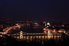 Άποψη της Βουδαπέστης τη νύχτα - τοπίο - Βουδαπέστη Στοκ εικόνες με δικαίωμα ελεύθερης χρήσης