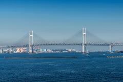 Άποψη της γέφυρας κόλπων Yokohama και του θαλάσσιου λιμένα Yokohama Στοκ φωτογραφία με δικαίωμα ελεύθερης χρήσης