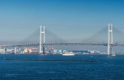 Άποψη της γέφυρας κόλπων Yokohama και του θαλάσσιου λιμένα Yokohama Στοκ εικόνα με δικαίωμα ελεύθερης χρήσης