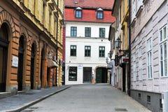 Άποψη της για τους πεζούς οδού στο κέντρο της πόλης του Ζάγκρεμπ Στοκ φωτογραφίες με δικαίωμα ελεύθερης χρήσης