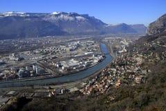 Άποψη της Γκρενόμπλ από το Bastille Ποταμός και βουνά Στοκ Εικόνες