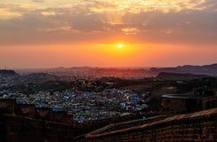 Άποψη της εικονικής παράστασης πόλης του Jodhpur από το οχυρό Mehrangarh, Jodhpur στοκ εικόνα με δικαίωμα ελεύθερης χρήσης