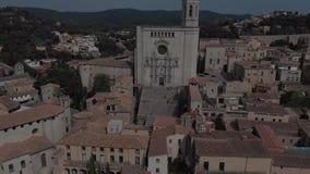 Άποψη της εκκλησίας Αγίου Felix και του καθεδρικού ναού Girona Καταλωνία απόθεμα βίντεο