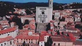 Άποψη της εκκλησίας Αγίου Felix και του καθεδρικού ναού Girona Καταλωνία φιλμ μικρού μήκους