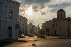 Άποψη της εκκλησίας Pyrohoshcha στο τετράγωνο της σύμβασης Ουκρανία, Kyiv, Podil r Στοκ φωτογραφίες με δικαίωμα ελεύθερης χρήσης