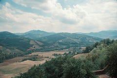 Άποψη της επαρχίας από την πόλη Vigoleno στοκ εικόνες