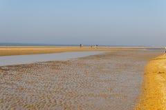 Άποψη της ευρείας αμμώδους παραλίας στην ολλανδική ακτή, με την άμπωτη και τη ροή του μετά από μια θερμή ημέρα άνοιξη Στοκ Εικόνα