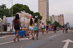 Άποψη της λεωφόρου Avenida Presidente Vargas στο Ρίο ντε Τζανέιρο κατά τη διάρκεια καρναβαλιού στοκ φωτογραφία