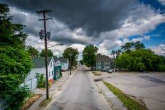 Άποψη της δεύτερης οδού, σε Piscataquog, Μάντσεστερ, Νιού Χάμσαιρ στοκ εικόνες