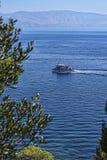 Άποψη της θάλασσας από τους λόγους του παλατιού Mon Pepose στην Κέρκυρα Ελλάδα στοκ εικόνες με δικαίωμα ελεύθερης χρήσης
