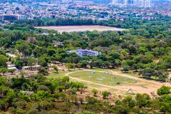 Άποψη της Ινδίας Arial πόλεων του Hyderabad Στοκ Εικόνα