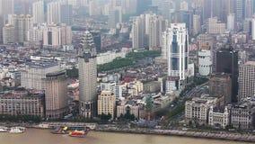 Άποψη της ιστορικής αρχιτεκτονικής του φράγματος, που αντιμετωπίζει τον ποταμό Huangpu, Σαγκάη, Κίνα απόθεμα βίντεο