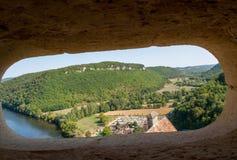 Άποψη της κοιλάδας του ποταμού Dordogne από Castelnaud Castle, Aquitaine, στοκ φωτογραφίες με δικαίωμα ελεύθερης χρήσης