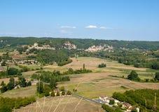 Άποψη της κοιλάδας του ποταμού Dordogne από Castelnaud Castle, Aquitaine, στοκ φωτογραφία με δικαίωμα ελεύθερης χρήσης