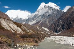 Άποψη της κοιλάδας Langtang, εθνικό πάρκο Langtang, Rasuwa Dsitrict, Νεπάλ στοκ φωτογραφία με δικαίωμα ελεύθερης χρήσης