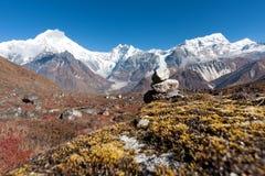Άποψη της κοιλάδας Langtang με την ΑΜ Langtang Lirung στο υπόβαθρο, Langtang, Bagmati, Νεπάλ στοκ εικόνες με δικαίωμα ελεύθερης χρήσης