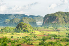 Άποψη της κοιλάδας Vinales στην Κούβα στο πρόωρο MO στοκ φωτογραφία