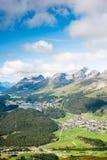 Άποψη της κορυφής Piz DA Staz και λίμνες στην περιοχή StMoritz στοκ εικόνες