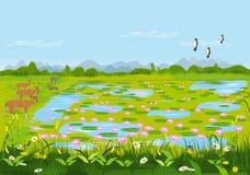 Άποψη της λίμνης λωτού με τα ελάφια και τα λουλούδια Υπάρχουν δάση ως υπόβαθρο διανυσματική απεικόνιση