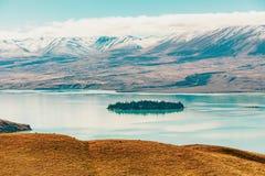Άποψη της λίμνης Tekapo από το υποστήριγμα John, NZ στοκ εικόνα