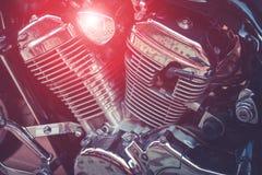 Άποψη της λεπτομέρειας μοτοσικλετών Κινηματογράφηση σε πρώτο πλάνο των μερών μοτοσικλετών Στοκ Εικόνες
