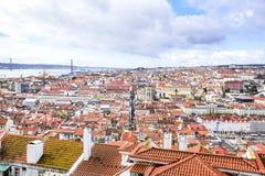 Άποψη της Λισσαβώνας από την κορυφή του κάστρου του Σάο Jorge στοκ φωτογραφίες