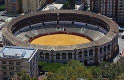 Άποψη της Μάλαγας με Plaza de Toros (αρένα ταυρομαχίας) από την εναέρια άποψη, Ισπανία Στοκ Φωτογραφία