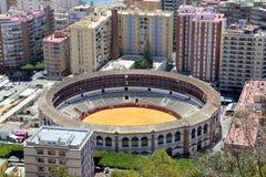 Άποψη της Μάλαγας με Plaza de Toros (αρένα ταυρομαχίας) από την εναέρια άποψη, Ισπανία Στοκ φωτογραφία με δικαίωμα ελεύθερης χρήσης