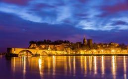 Άποψη της μεσαιωνικής πόλης Αβινιόν στο πρωί, παγκόσμια κληρονομιά της ΟΥΝΕΣΚΟ Στοκ εικόνα με δικαίωμα ελεύθερης χρήσης