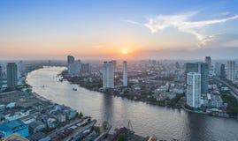Άποψη της Μπανγκόκ ηλιοβασιλέματος στοκ φωτογραφίες