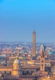 Άποψη της Μπολόνιας Πύργοι της Μπολόνιας Στοκ Εικόνα
