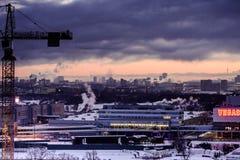 Άποψη της Μόσχας από τις κορυφές στεγών το χειμώνα τη νύχτα Στοκ φωτογραφίες με δικαίωμα ελεύθερης χρήσης