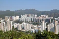 Άποψη της νέας πόλης Shatin από το περίπτερο λιονταριών στο Χονγκ Κονγκ Στοκ Εικόνα