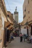 Άποψη της οδού στην αρχαία παλαιά πόλη Fez, Mor του Fez EL Μπαλί Medina στοκ εικόνες