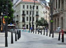 Άποψη της οδού στο κέντρο της πόλης της Βουδαπέστης, Ουγγαρία Στοκ Φωτογραφία