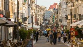Άποψη της οδού Santa Catarina Είναι η αρτηρία των καλύτερων αγορών του στο κέντρο της πόλης Πόρτο Στοκ Εικόνες