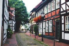 Άποψη της παλαιάς πόλης Hameln με τα τετραγωνικά και παραδοσιακά γερμανικά σπίτια αγοράς, χαμηλότερη Σαξωνία, Γερμανία Στοκ Εικόνες