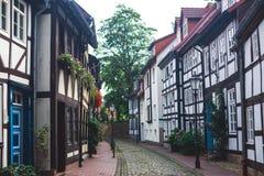 Άποψη της παλαιάς πόλης Hameln με τα τετραγωνικά και παραδοσιακά γερμανικά σπίτια αγοράς, χαμηλότερη Σαξωνία, Γερμανία Στοκ Εικόνα