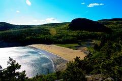 Άποψη της παραλίας άμμου στο εθνικό πάρκο Acadia Στοκ Εικόνες